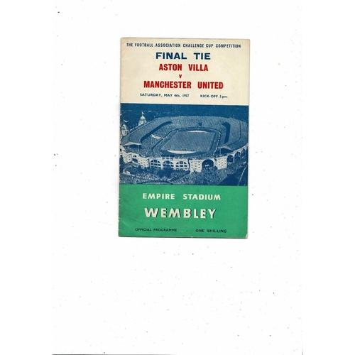 1957 Aston Villa v Manchester United FA Cup Final Football Programme