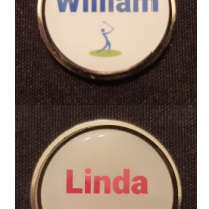 Men's and Ladies Personalised 30mm Ball Marker - Nickel + Epoxy Dome