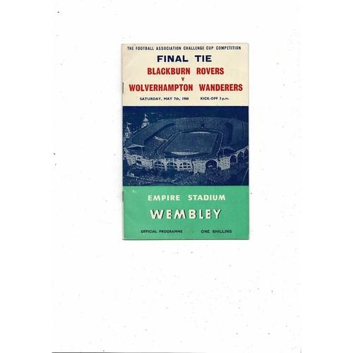 1960 Blackburn Rovers v Wolves FA Cup Final Football Programme