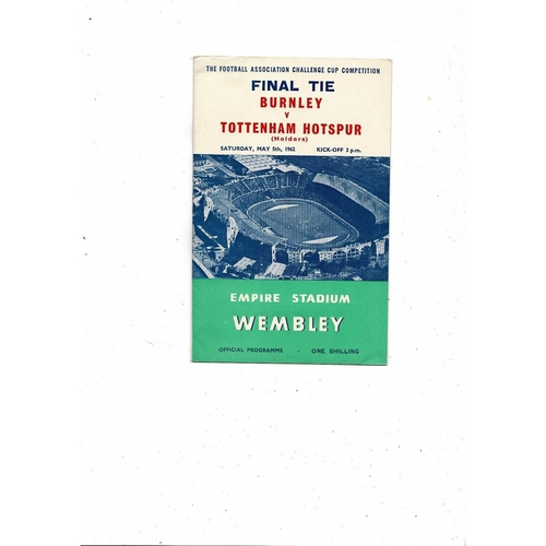 1962 Burnley v Tottenham FA Cup Final Football Programme