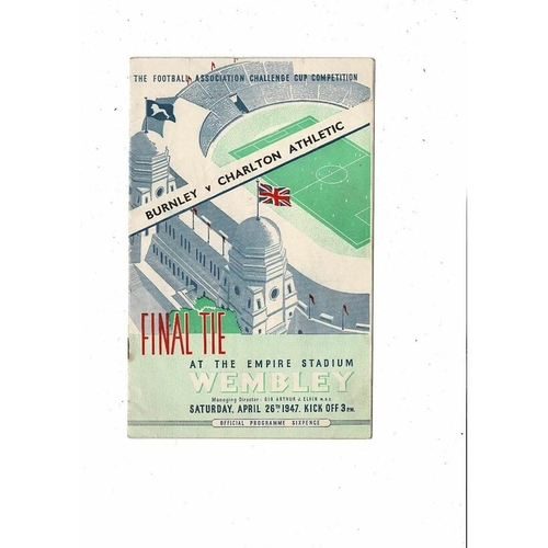 1947 Burnley v Charlton Athletic FA Cup Final Football Programme