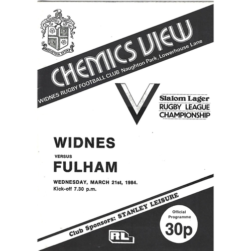 1983/84 Widnes v Fulham Rugby League Programme