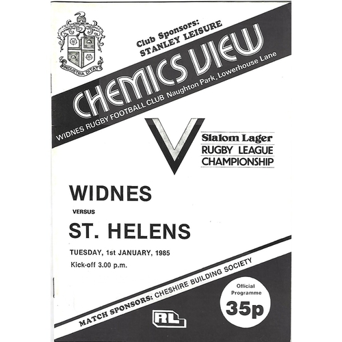 1984/85 Widnes v St. Helens Rugby League Programme