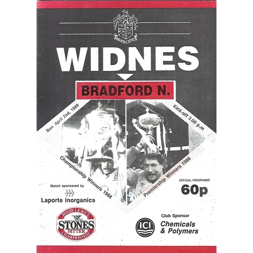 1988/89 Widnes v Bradford Northern Rugby League Programme