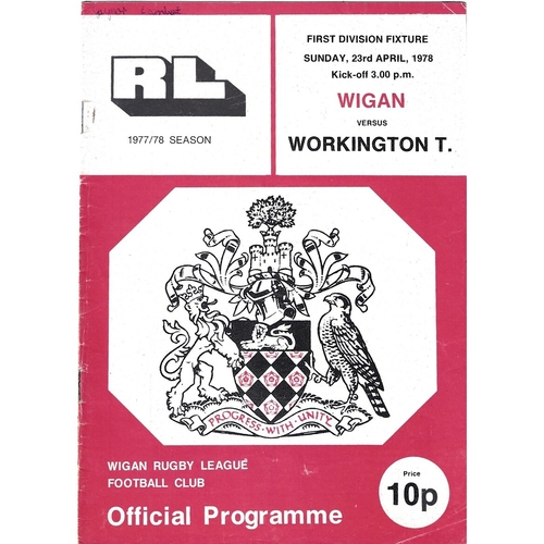 1977/78 Wigan v Workington Town Rugby League Programme