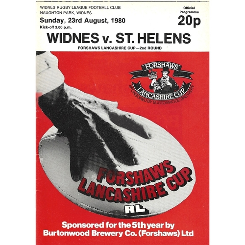 1980/81 Widnes v St. Helens Lancashire Cup 2nd Round Rugby League Programme
