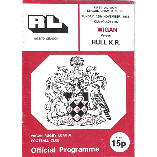 1978/79 Wigan v Hull Kingston Rovers Rugby League Programme