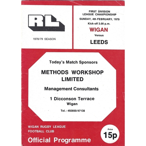 1978/79 Wigan v Leeds Rugby League Programme