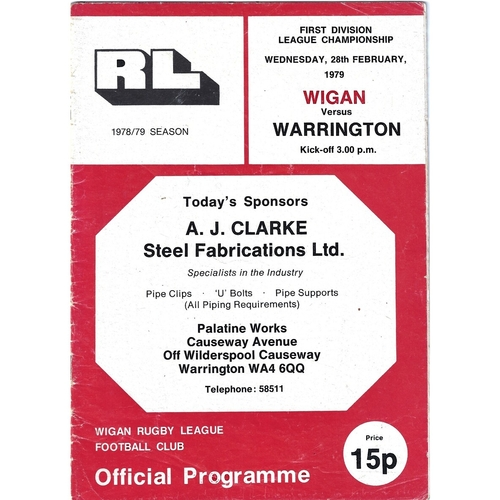 Wigan Home Rugby League Programmes