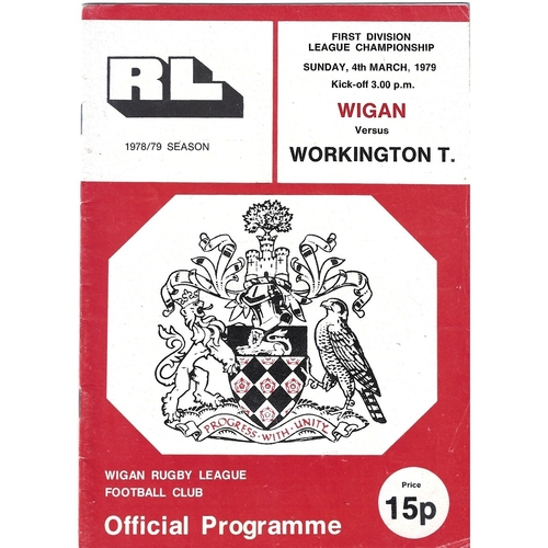 1978/79 Wigan v Workington Town Rugby League Programme