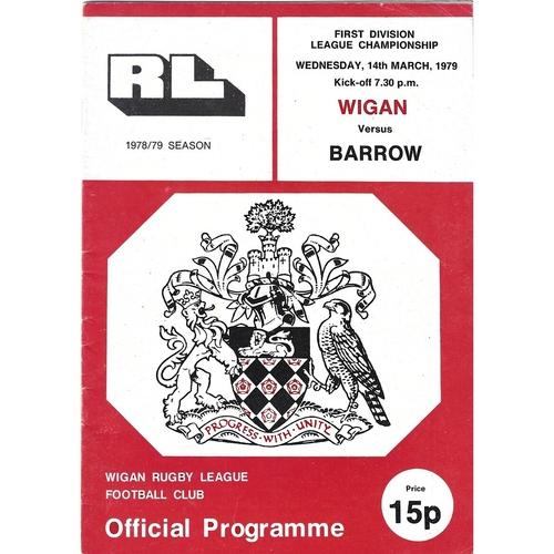 1978/79 Wigan v Barrow Rugby League Programme