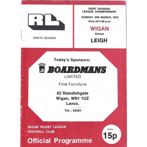 1978/79 Wigan v Leigh Rugby League Programme