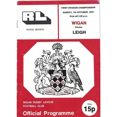 1979/80 Wigan v Leigh Rugby League Programme