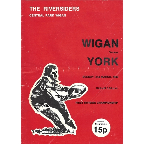 1979/80 Wigan v York Rugby League Programme