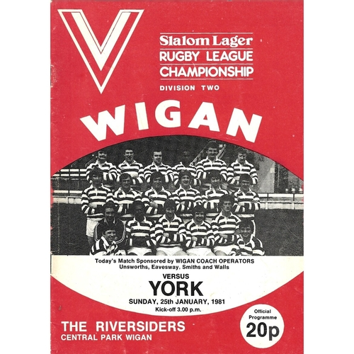 1980/81 Wigan v York Rugby League Programme