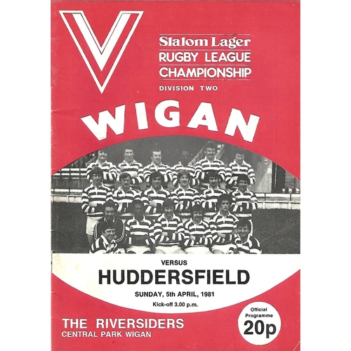 1980/81 Wigan v Huddersfield Rugby League Programme