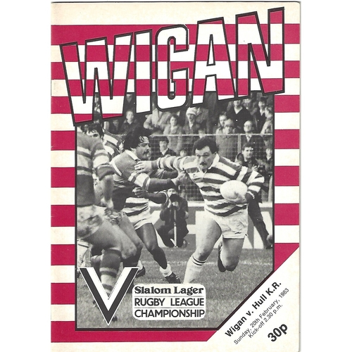 1982/83 Wigan v Hull Kingston Rovers Rugby League Programme