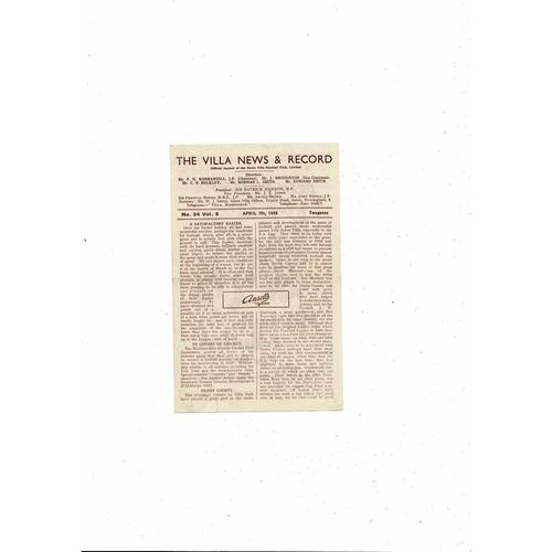 1947/48 Aston Villa v Derby County Football Programme