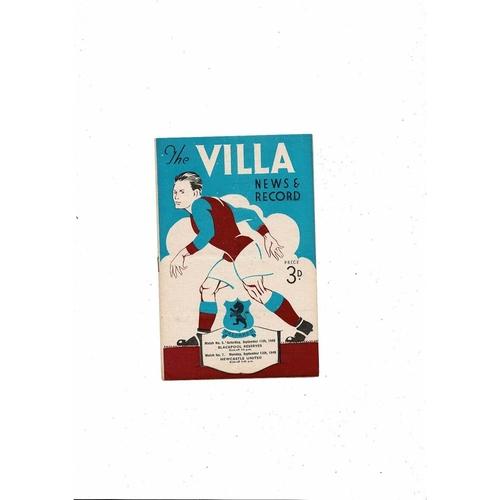 1948/49 Aston Villa v Newcastle United + Blackpool Reserves Football Programme