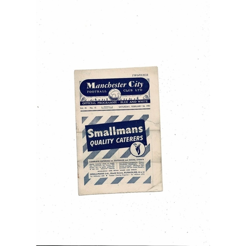 1950/51 Manchester City v Doncaster Rovers Football Programme
