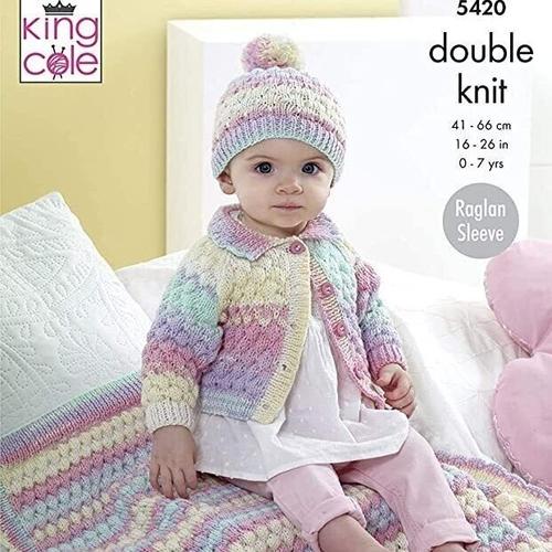 Cardigan, Hat & Blanket Pattern 5420