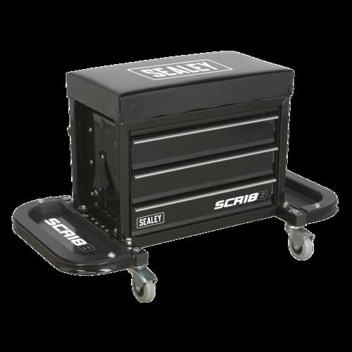 Mechanic's Utility Seat & Toolbox - Black - Sealey - SCR18B