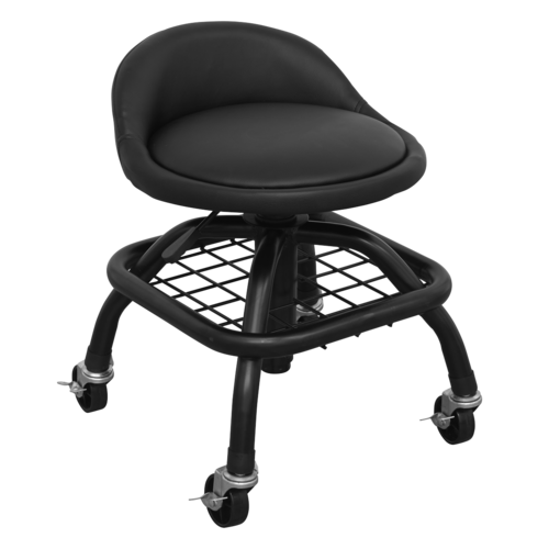 Creeper Stool Pneumatic with Adjustable Height Swivel Seat & Back Rest - SCR02B