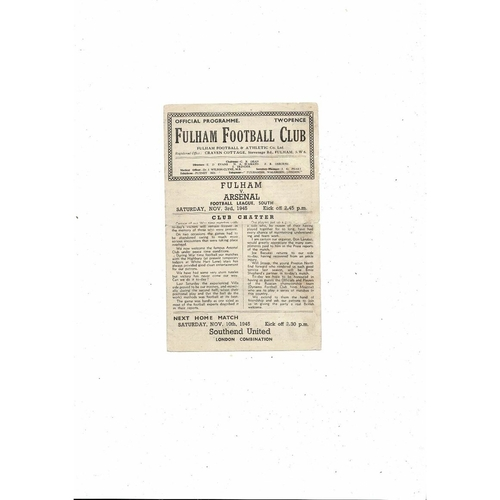1945/46 Fulham v Arsenal Football Programme