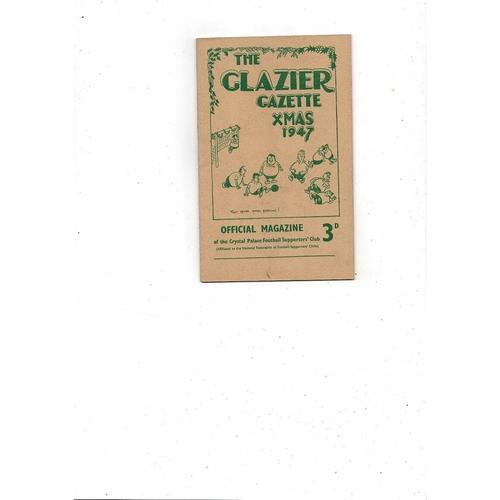 1947 Crystal Palace The Glazier Gazette Xmas Football Supporters Magazine