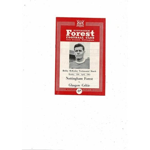 Nottingham Forest v Celtic Bobby Mckinlay Testimonial Football Programme 1964/65