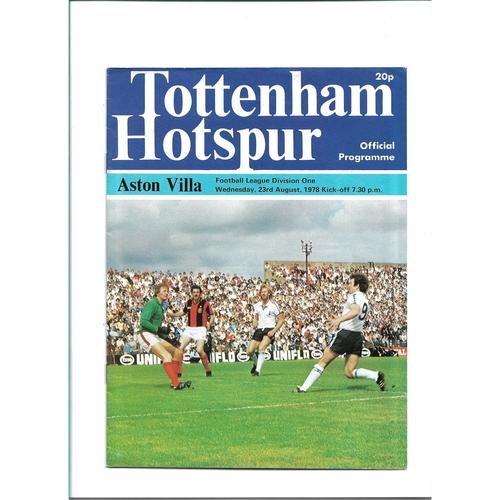 1978/79 Tottenham Hotspur v Aston Villa Football Programme