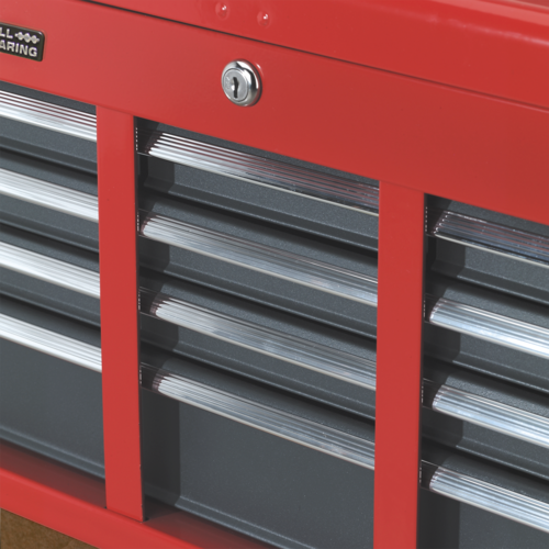 Topchest 6 Drawer with Ball-Bearing Slides - Red/Grey - Sealey - AP2201BB