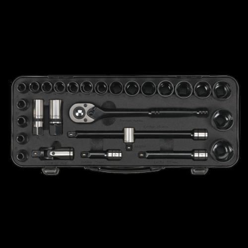 """Socket Set 28pc 1/2""""Sq Drive 6pt WallDrive® Metric Black Series - Sealey - AK7972"""