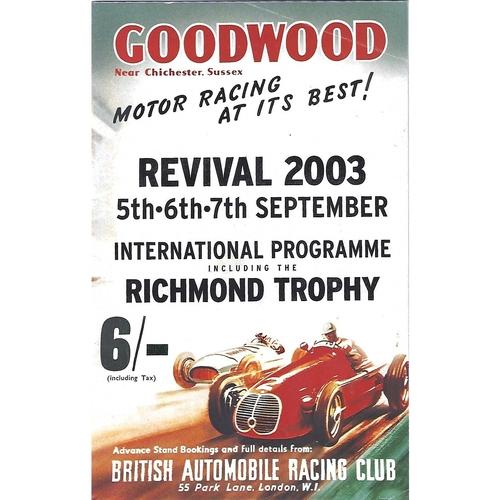 2003 Goodwood Motor Circuit Revival Programme & Brochure