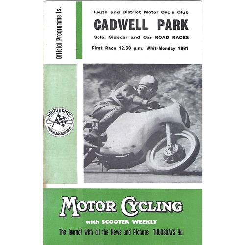1961 Cadwell Park Lough & District Motor Cycle Club Solo, Side Car & Car Road Race Meeting (22/05/1961) Motor Cycle & Motor Racing Programme