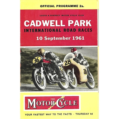 1961 Cadwell Park Lough & District Motor Cycle Club International Road Race Meeting (10/09/1961) Motor Cycle Racing Programme