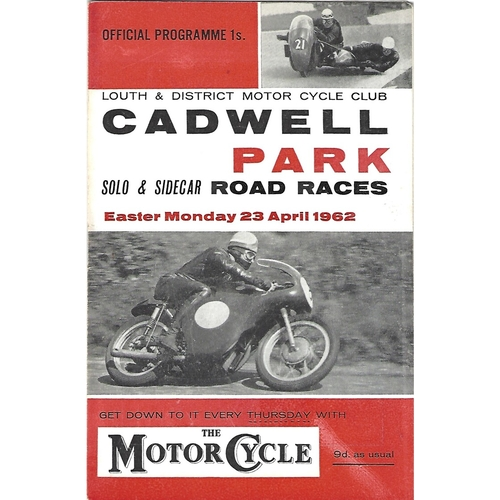 1962 Cadwell Park Lough & District Motor Cycle Club Solo & Side Car Road Race Meeting (23/04/1962) Motor Cycle Racing Programme