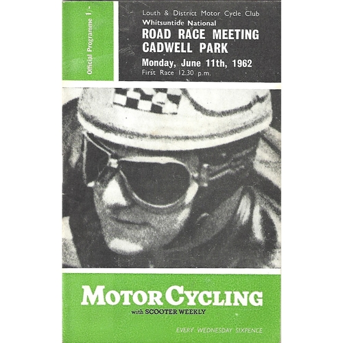 1962 Cadwell Park Lough & District Motor Cycle Club National Road Race Meeting (11/06/1962) Motor Cycle Racing Programme