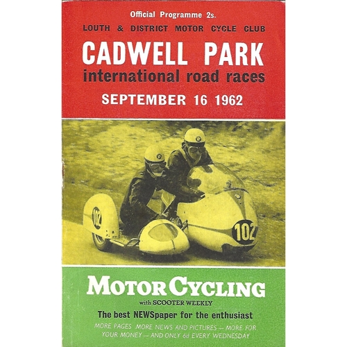1962 Cadwell Park Lough & District Motor Cycle Club International Road Race Meeting (16/09/1962) Motor Cycle Racing Programme