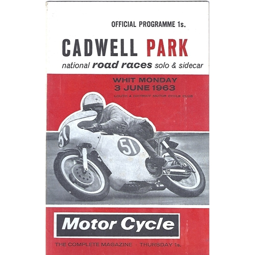 1963 Cadwell Park Lough & District Motor Cycle Club National Solo & Side Car Road Race Meeting (03/06/1963) Motor Cycle Racing Programme