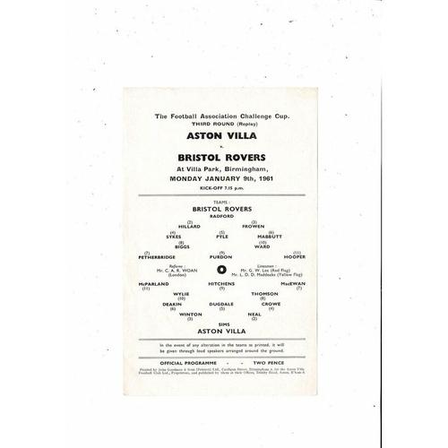 1960/61 Aston Villa v Bristol Rovers FA Cup Replay Football Programme