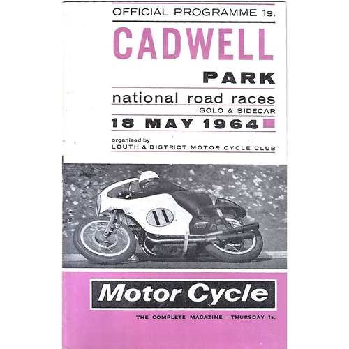 1964 Cadwell Park Lough & District Motor Cycle Club National Solo & Side Car Road Race Meeting (18/05/1964) Motor Cycle Racing Programme