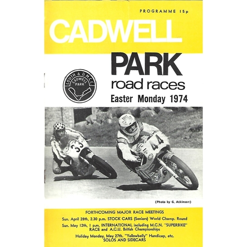 1974 Cadwell Park Road Races (15/04/1974) Motor Cycle Racing Programme