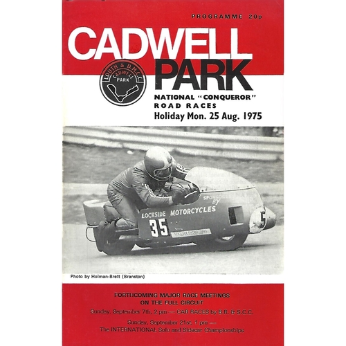 "1975 Cadwell Park National ""Conqueror"" Road Race Meeting (25/08/1975) Motor Cycle Racing Programme"