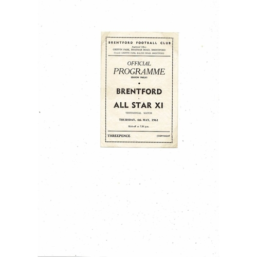 Brentford v All Star X1 Coote & Rainford Testimonial Football Programme 1960/61