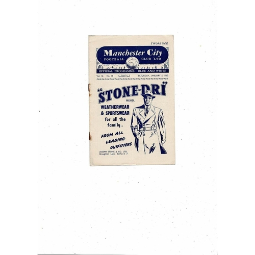 1951/52 Manchester City v Derby County Football Programme