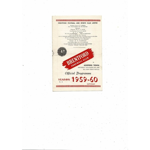 1959/60 Brentford v Ashford Town FA Cup Football Programme