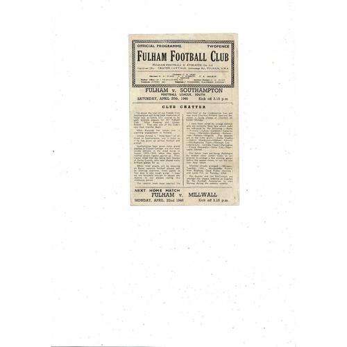 1945/46 Fulham v Southampton Football Programme