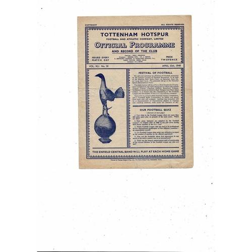 1948/49 Tottenham Hotspur v Fulham Football Programme