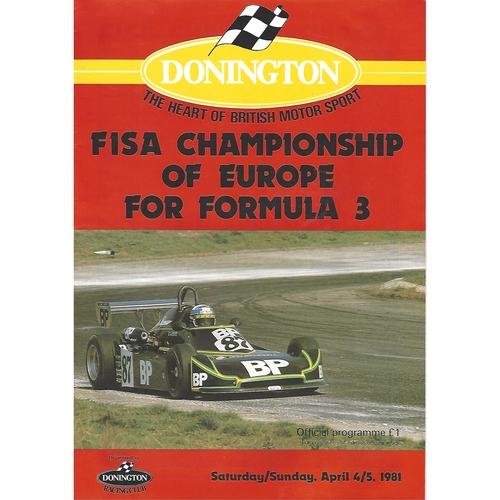 1981 Donnington Park European F3 Championship Meeting (04-05/04/1981) Motor Racing Programme